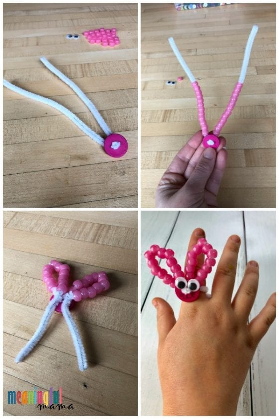 bunny ring made from pipe cleaners