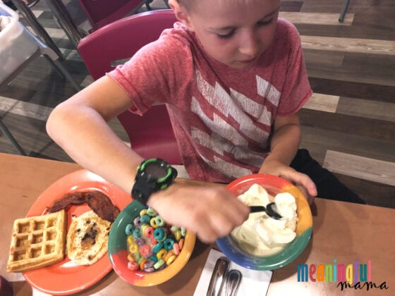 Child Eating Unhealthy Breakfast at the Legoland Hotel California