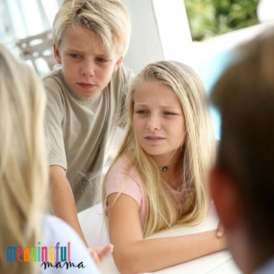 Kids receiving consequence from parents