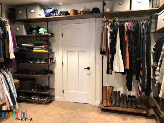 DIY Industrial Pipe Walk-In Closet with Clothes
