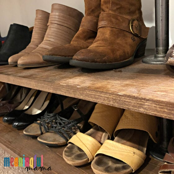 DIY Industrial Pipe Walk-In Closet with Shoes