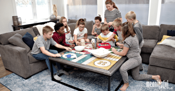 Kids Hanging out and Playing Games on Washable Rug
