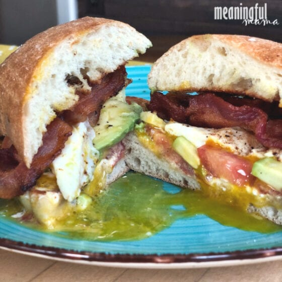 Spicy Bacon Avocado and Tomato Breakfast Sandwich