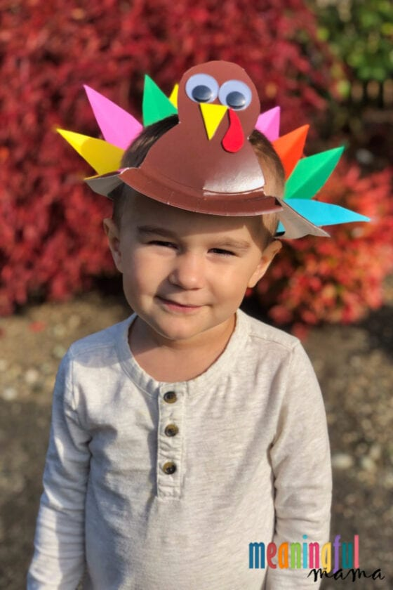 Paper Plate Turkey Hat Craft for Kids
