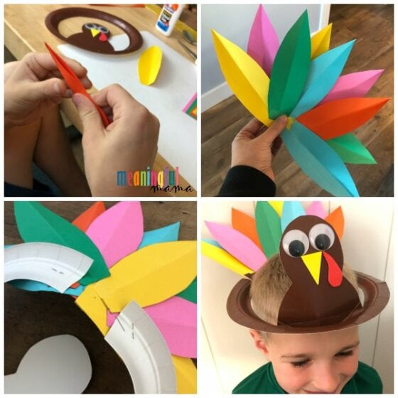 Paper Plate Turkey Hat Craft for Kids Step by Step