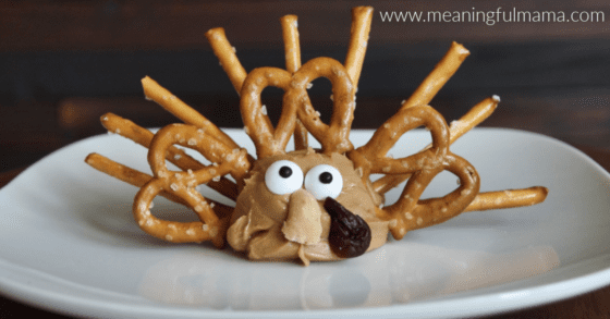 Peanut Butter and Pretzel Easy and Healthy Thanksgiving Snack for Kids