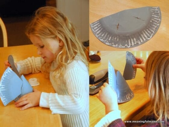 kids working on paper plate angel craft