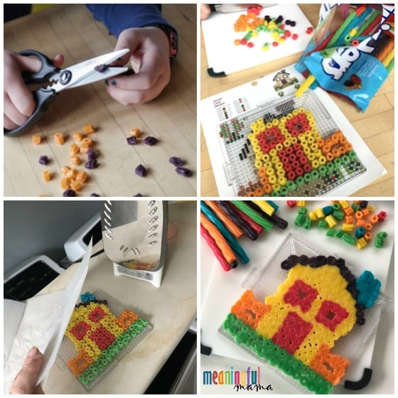 steps to make Edible Perler Bead Art with Twizzlers