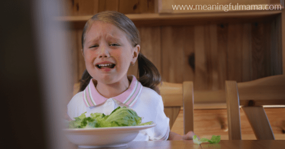Picky Eater Crying over Vegetables