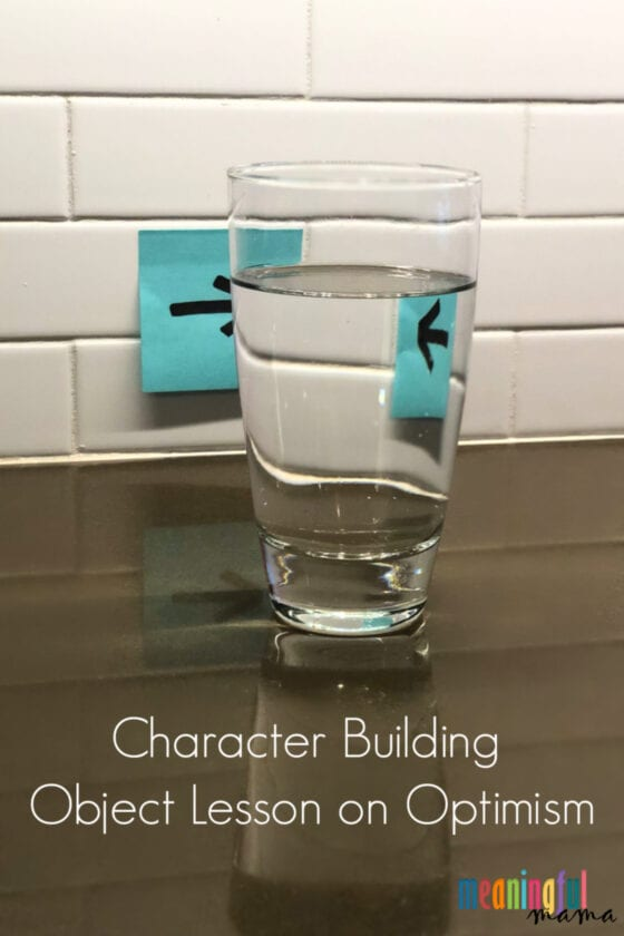 Character Building Object Lesson Involving Refraction Teaches Optimism with water and glass