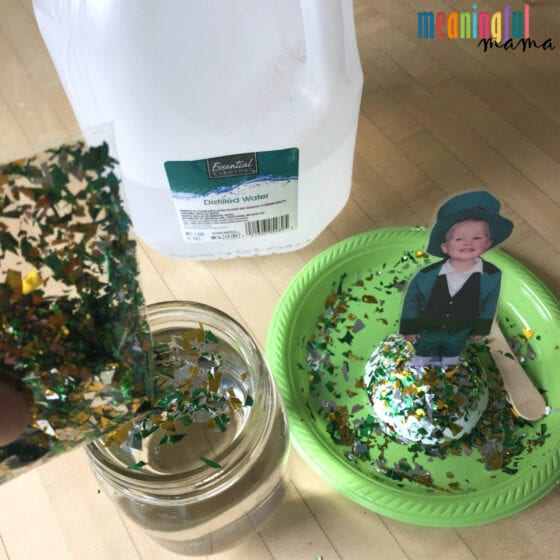 Making a DIY St. Patrick's Day Glitter Globe