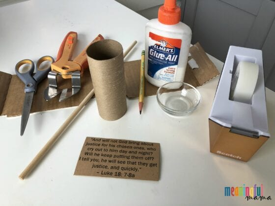 Materials Needed to Make Gavel Craft in this Bible Lesson for Kids About Perseverance