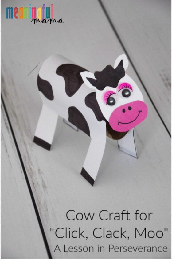 "Cow Craft for ""Click, Clack, Moo"" Lesson on Perseverance"