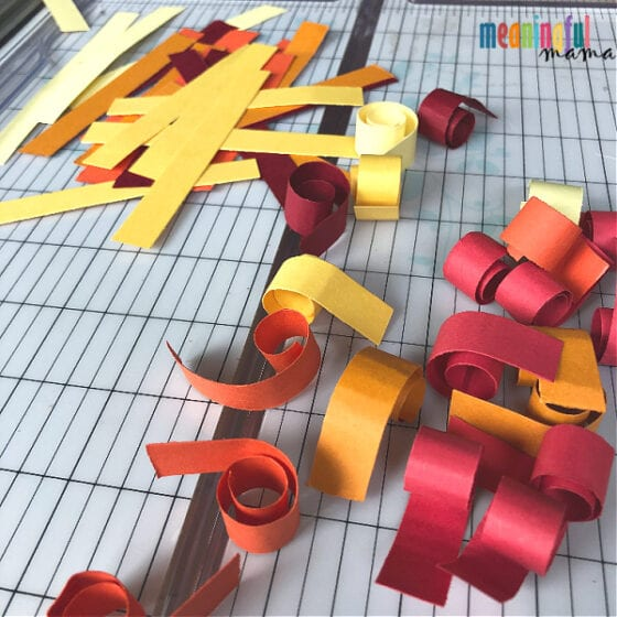 Curled paper for 3D Fall Tree Paper Craft