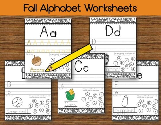 Free Fall Alphabet Handwriting Worksheet