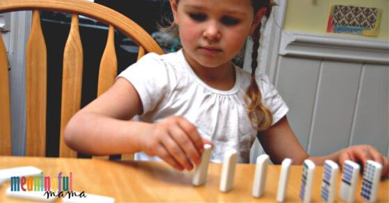 Child Playing Dominoes Object Lesson for Kindness - The Domino Effect