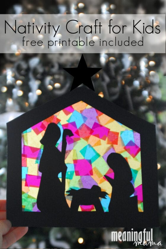 stained glass nativity craft for kids