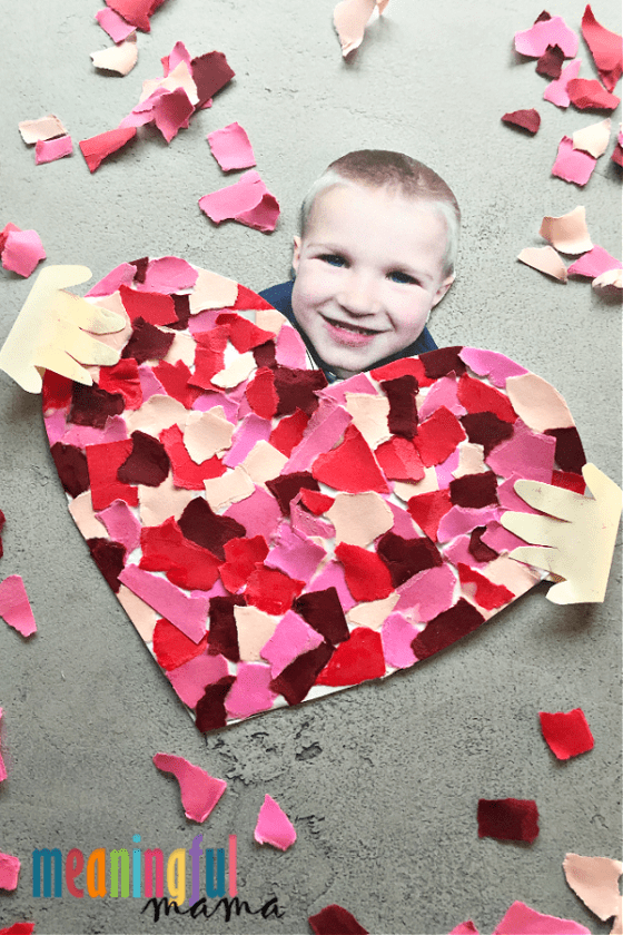 Mosaic Heart Craft or card with child's face.