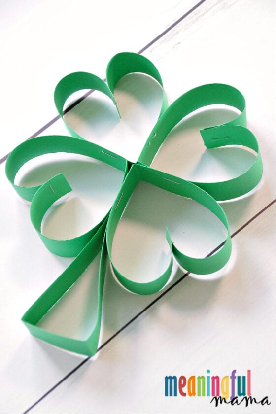 Simple Paper Four Leaf Clover  Craft for St. Patrick's Day